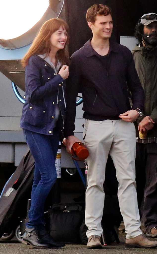 Dakota Johnson and Jamie Dornan on the set of Fifty Shades of Grey