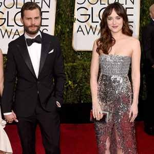 Dakota Johnson and Jamie Dornan at the Golden Globes 2015