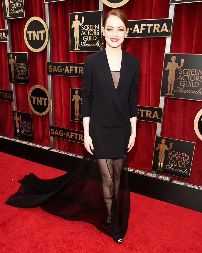 Emma Stone in Dior Haute Couture and Reposii Jewelry at the SAG Awards 2015