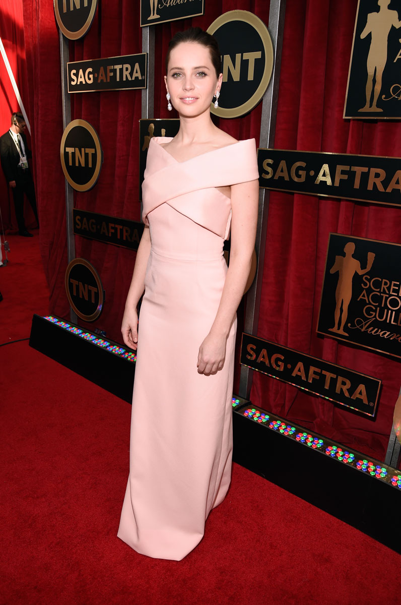 Felicity Jones in Balenciaga and Van Cleef & Arpels Jewelry at the SAG Awards 2015