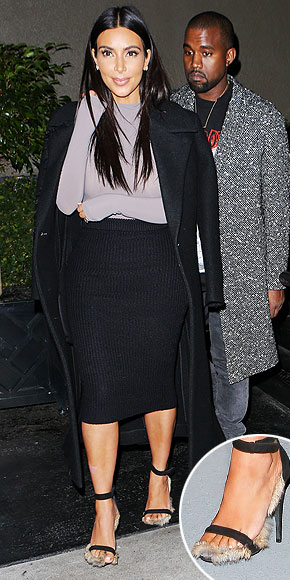 Kim Kardashian and her rabbit fur Celine sandals