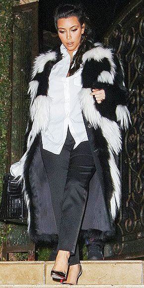 Kim Kardashian black and white fur