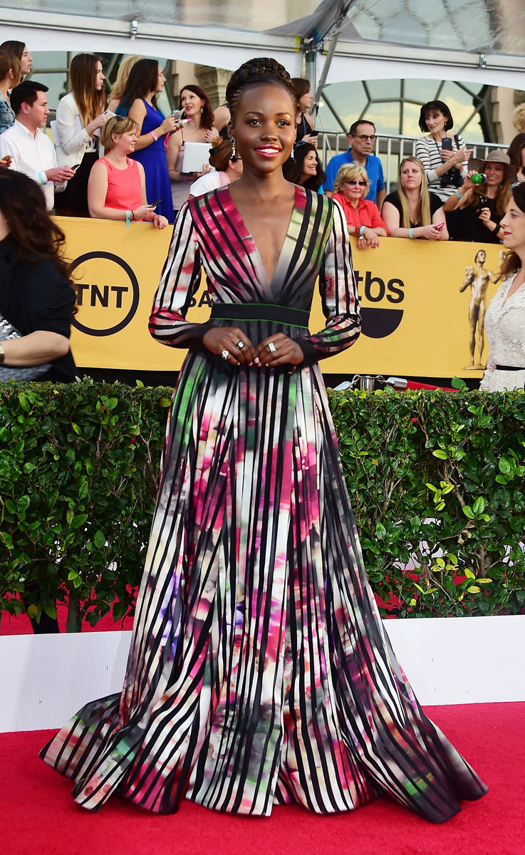 Lupita Nyong'o in Elie Saab gown and Fred Leghton jewels at the SAG Awards 2015