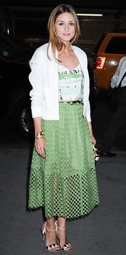 Olivia-Palermo-Green_and_white_Tibi_separates June16, 2014