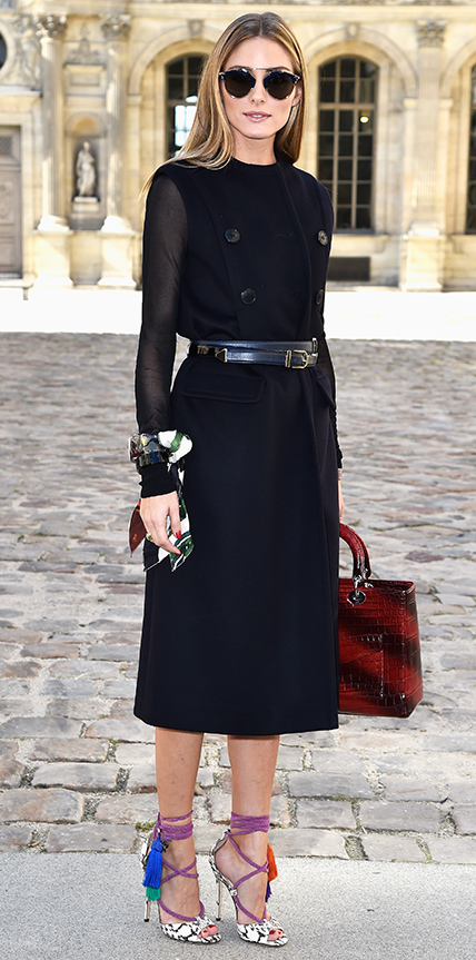 Olivia-palermo-at Paris Fashion Week in a black double-face wool Dior coat dress_Sep 25, 2014