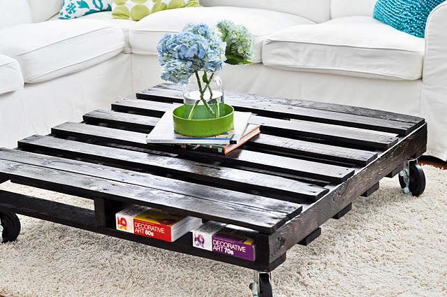 black wooden pallet table