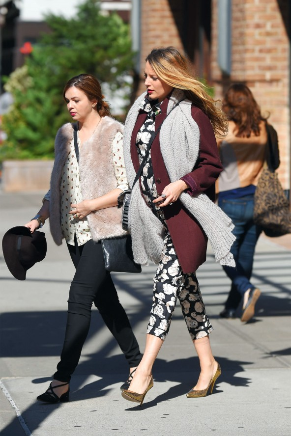 Blake Lively and Amber Tamblyn seen out in Tribeca 18 oct 2014