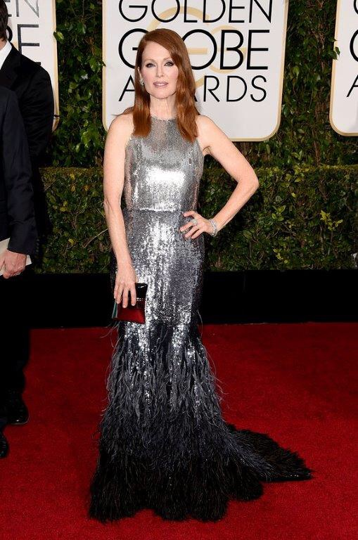 Julianne Moore Golden Globes 2015 in Givenchy Haute Couture and Chopard Jewelry