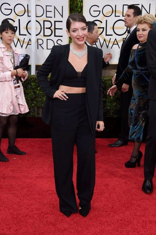 Lorde Golden Globes 2015 in Narciso Rodriguez and Neil Lane jewelry