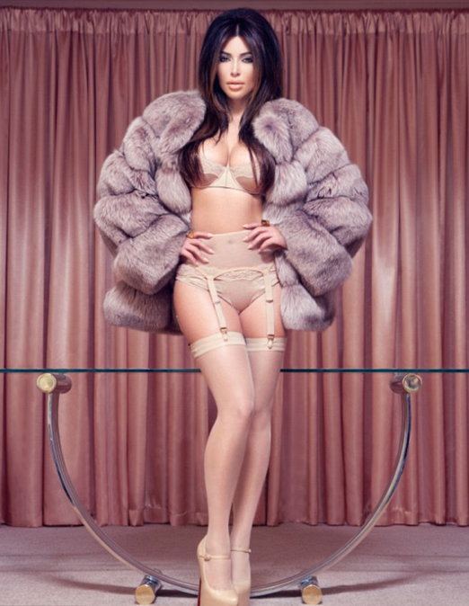 Kim Kardashian fur coat lingerie factice cover