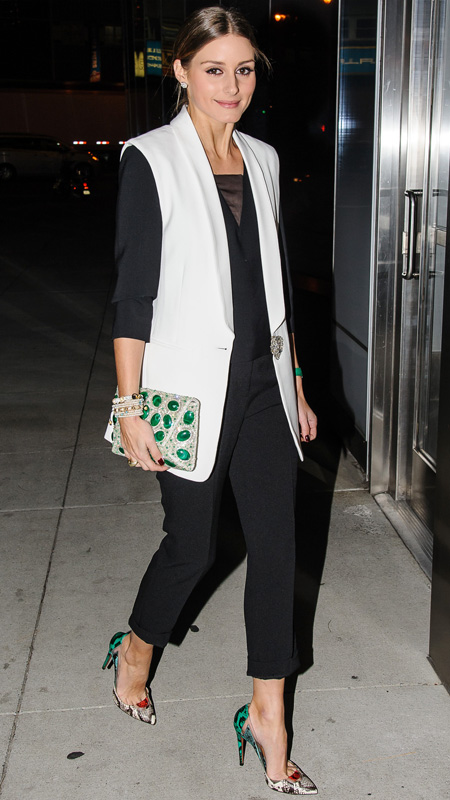 Olivia-Palermo-Aquazzura pumps, Stuart Weitzman bejeweled clutch Dec 3, 2013
