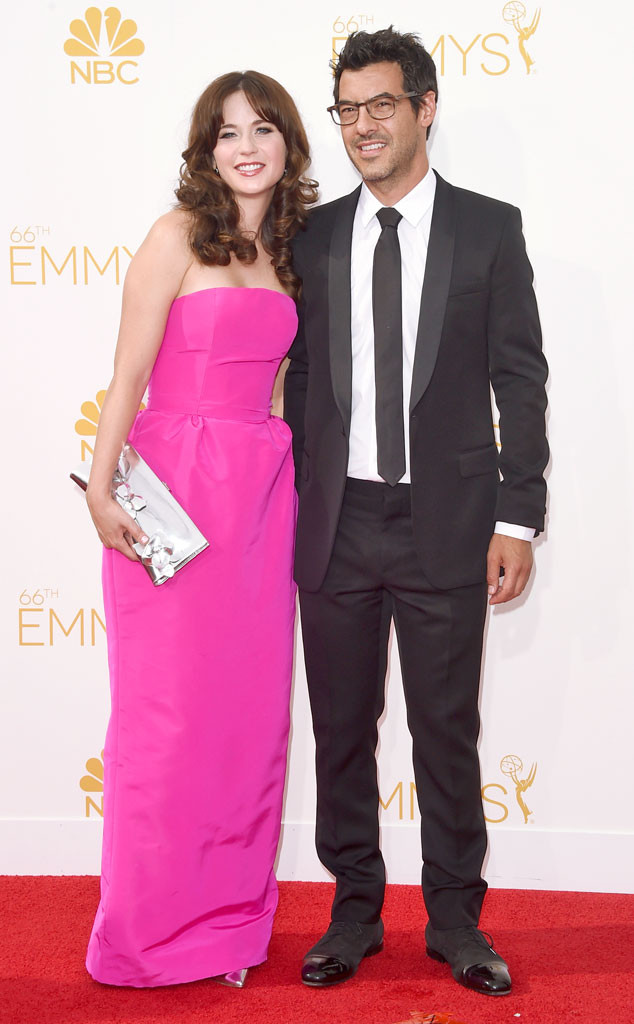 Zooey Deschanel and Jacob Pechenik at the Emmy Awards