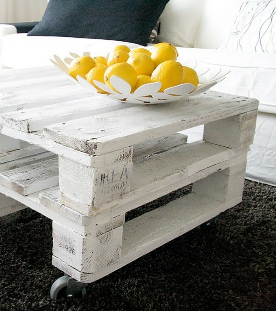 white wooden pallet coffee table
