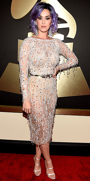 Katy Perry in Zuhair Murad  Couture dress and strappy Sophia Webster heels at the 2015 Grammys