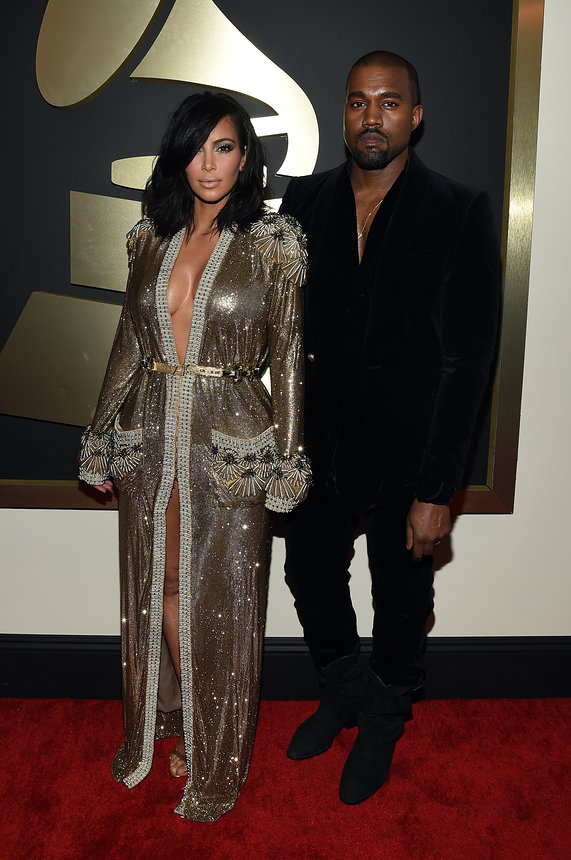 Kim Kardashian West in Jean Paul Gaultier and Kanye West at The 2015 Grammy Awards