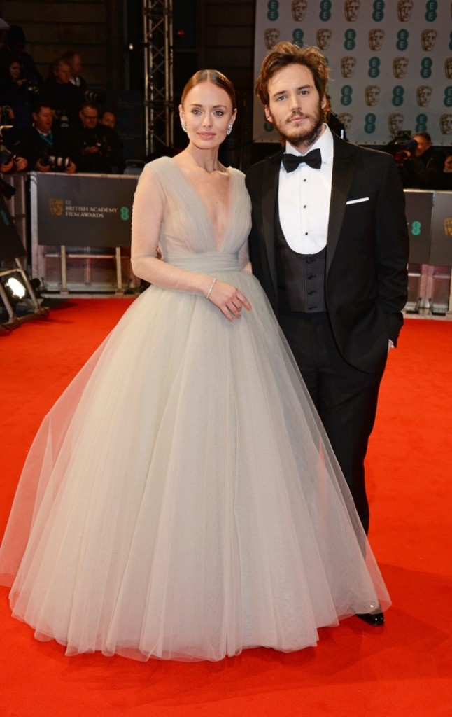 Laura Haddock and Sam Claflin at the 2015 BAFTA Awards at The Royal Opera House on February 8, 2015 in London, England