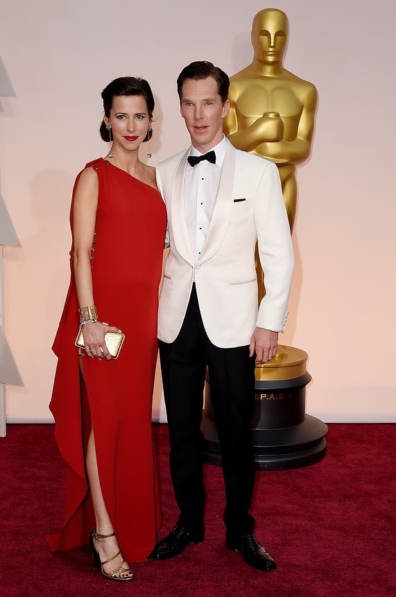 Sophie Hunter in Lanvin with Benedict Cumberbatch on the Oscars red carpet 2015