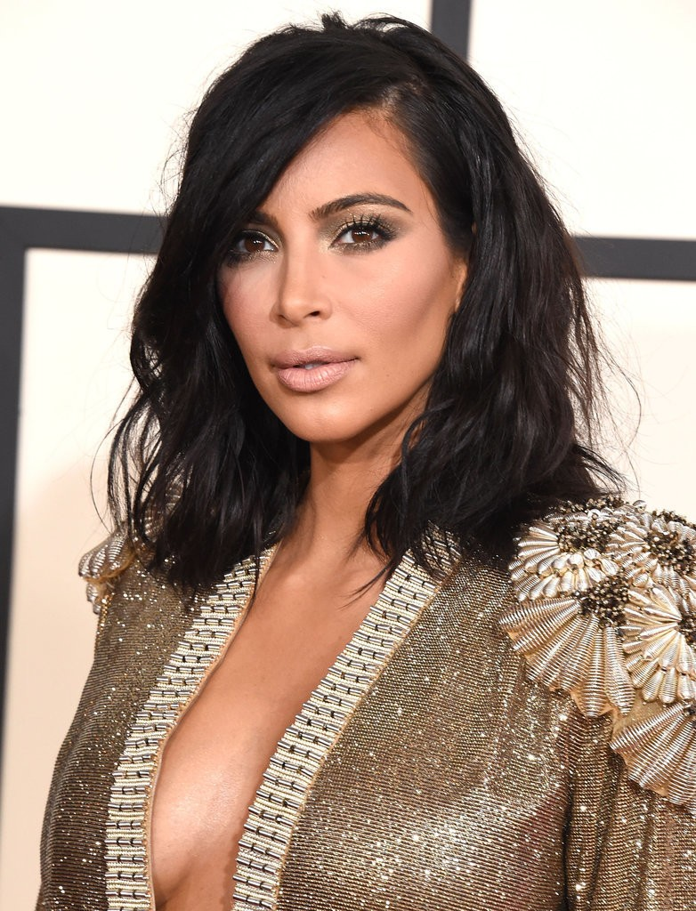 Kim Kardashian and her long bob hairstyle, called LOB