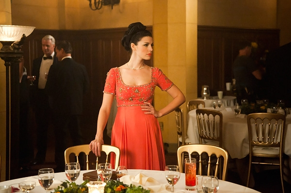Megan Draper's somon and gold dress in mad Men