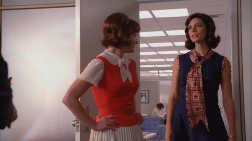 Megan in a Peggy-esque style choice on Mad Men