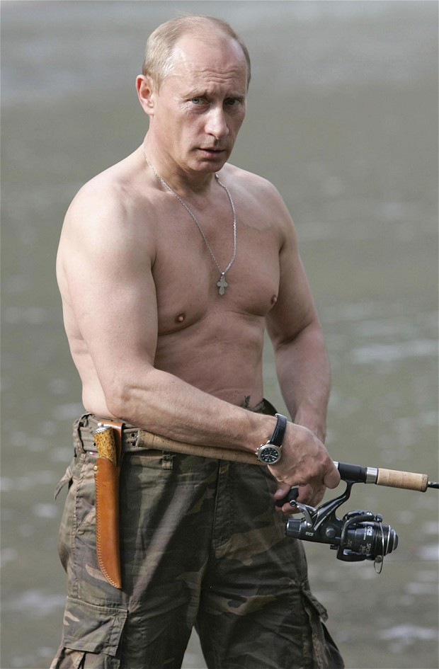 Putin fishes in the headwaters of the Khemchik River in the Tuva region of Siberia