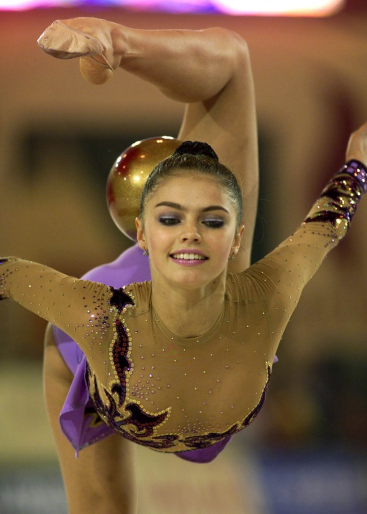 Russian world champion Alina Kabaeva during the World Rhythmic Gymnastics Championships in Madrid,2001