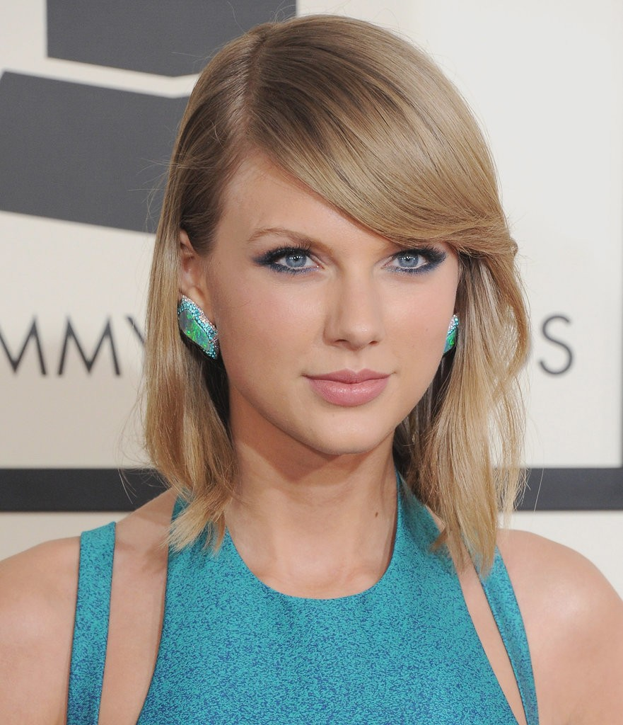 Bob with side swept bangs- Taylor Swift