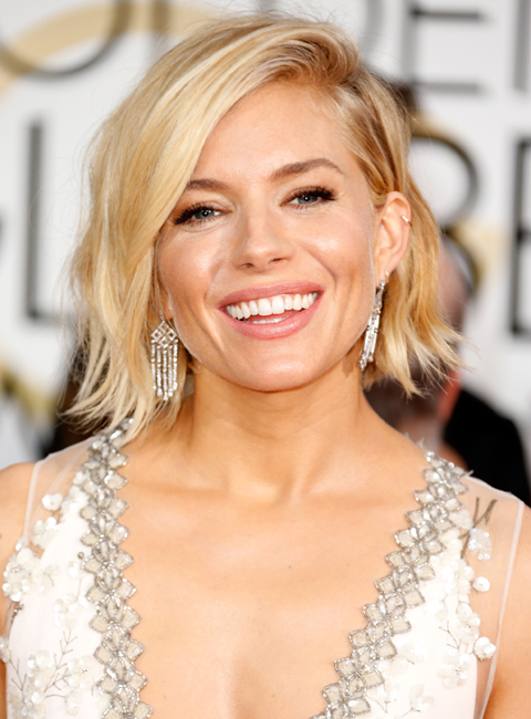 BOB Haircut- Actress Sienna Miller attends the 72nd Annual Golden Globe Awards