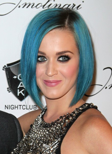 Katy Perry- short blue A-Line bob hairstyle
