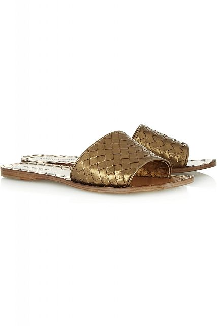 BOTTEGA VENETA Metallic intrecciato leather slides