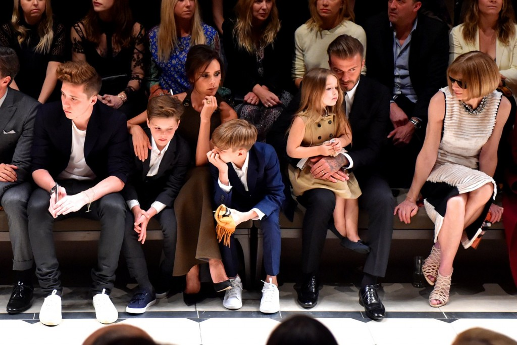Beckhams- Brooklyn, Cruz, Victoria, Romeo, David, Harper and Anna Wintour in front row at Burberry in LA 16Apr15