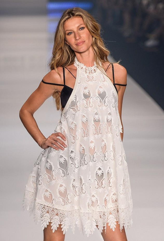 Gisele Bundchen's final walk on the  catwalk in the Colcci show at Sao Paolo Fashion Week Brasil on April 15