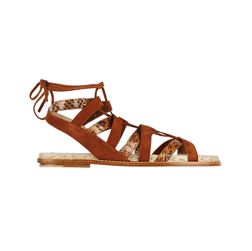 Paul Andrew Tempest suede and elaphe flat sandals, $625