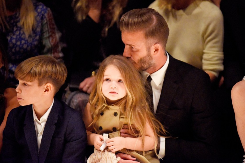 Romeo, Harper and David Beckham at the Burberry event 16Apr15