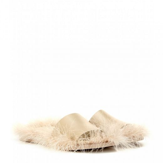 SIMONE ROCHA Feather trimmed leather sandals