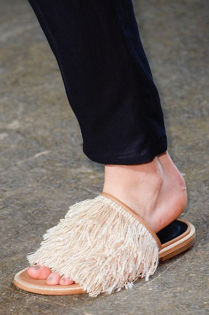 Tibi Jack fringed leather slides Spring 2015, $425