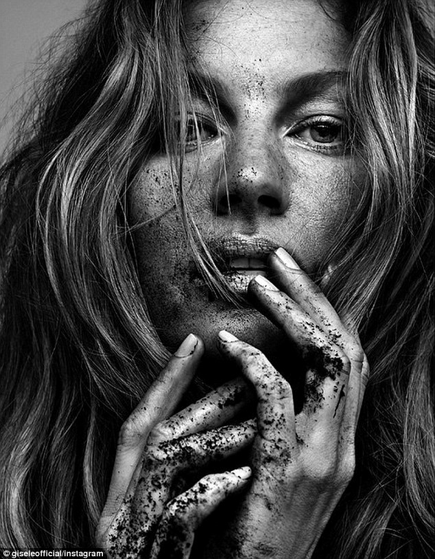 'When we honor the earth, we honor ourselves'- In a black and white Vogue head shot posted to Instagram, she is photographed in a more nitty-gritty manner