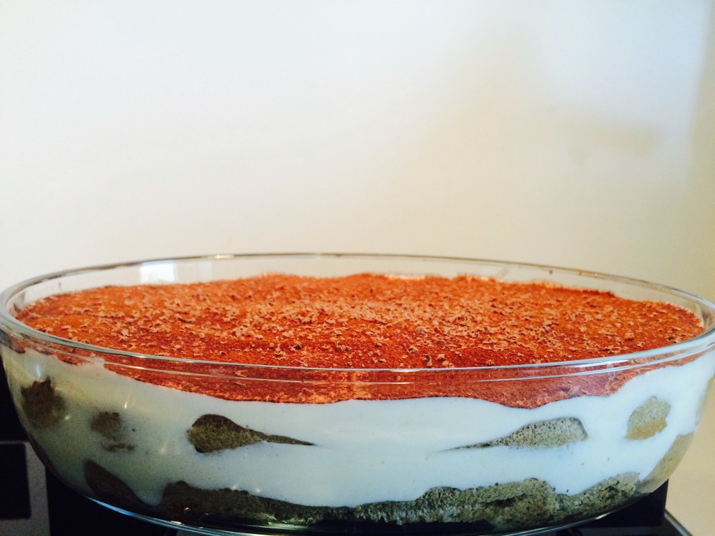 Tiramisu decorated with cocoa powder