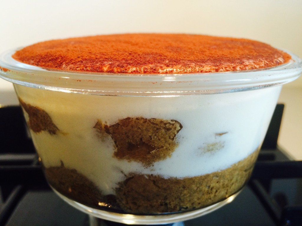 Tiramisu decorated woth cocoa powder