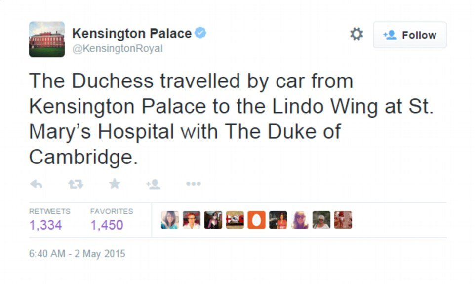 Kate was driven from her apartment at Kensington Palace to St Mary's