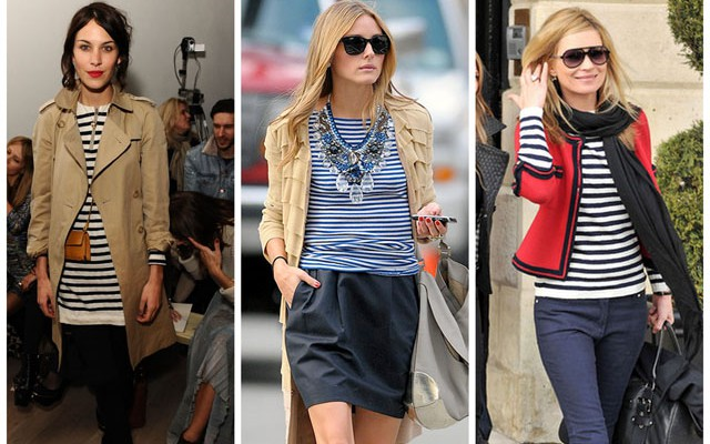 Alexa Chung, Olivia Palermo and Kate Moss wearing stripes
