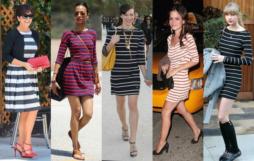 Celebrities strutting romantic stripped dresses