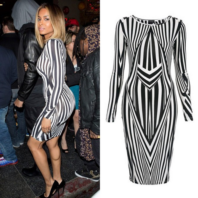 Black white vertical stripe dress