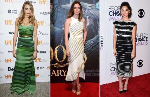 Emily Blunt, Olivia Munn and Cara Delevingne in stylish striped outfits