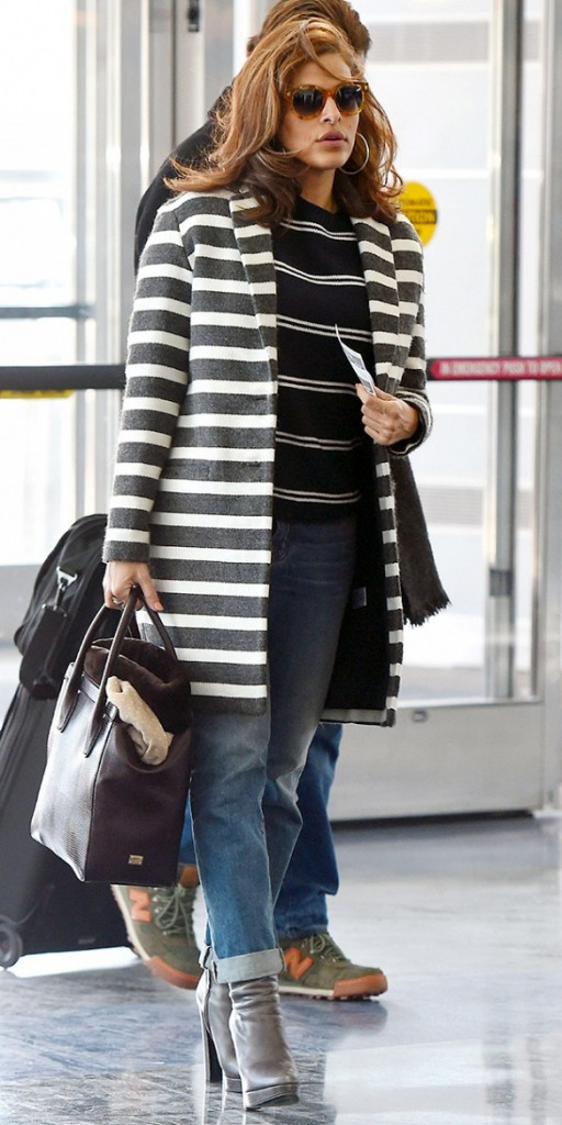 Eva Mendes mixes two striped items in a chic way