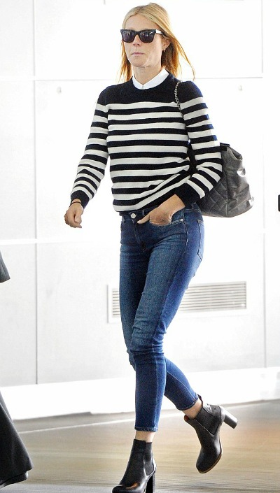 Gwyneth Paltrow emerged in a black and whote striped blouse