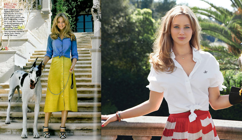 Jennifer Lawrence in Teen Vogue with knooed shirts