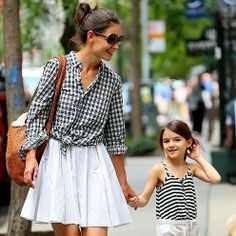 Katie Holmes (and Suri) in a stylish, knotted checkered shirt & white skirt