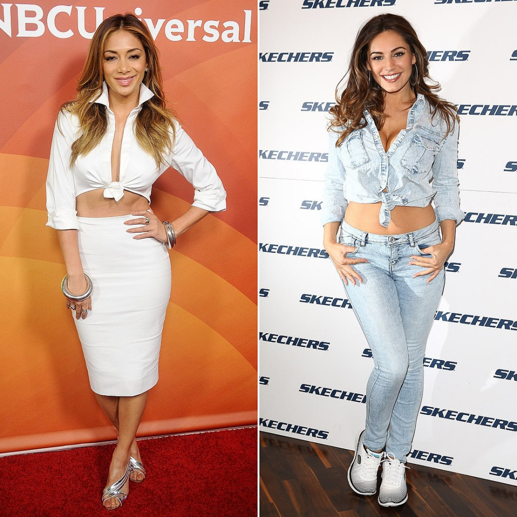Kelly Brook and Nicole Scherzinger with knotted shirts