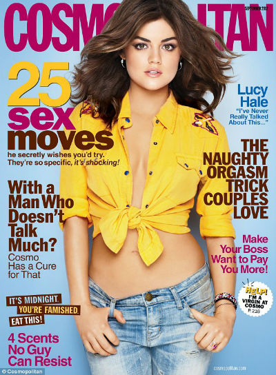 Lucy Hale wearing a yellow tied shirt and jeans